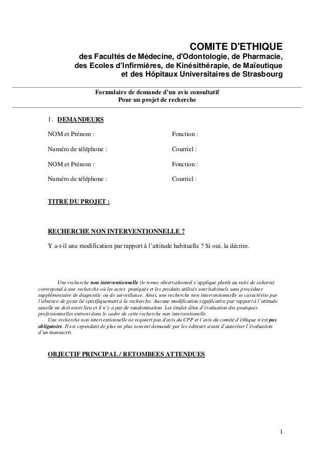 COMITE D'ETHIQUE des Facultés de Médecine, d'Odontologie, de Pharmacie, des Ecoles d'Infirmières, de Kinésithérapie, de Ma...