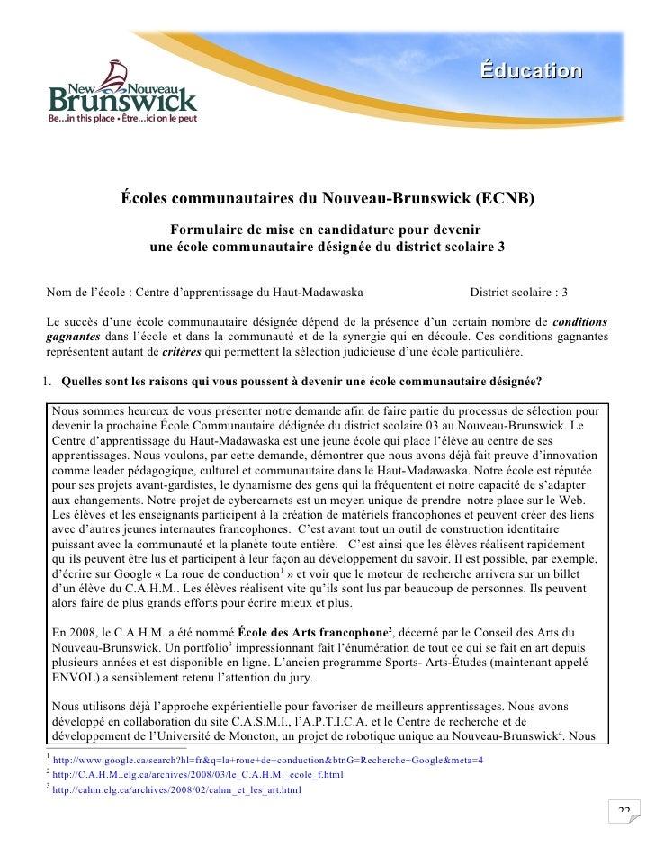 Éducation                      Écoles communautaires du Nouveau-Brunswick (ECNB)                           Formulaire de m...