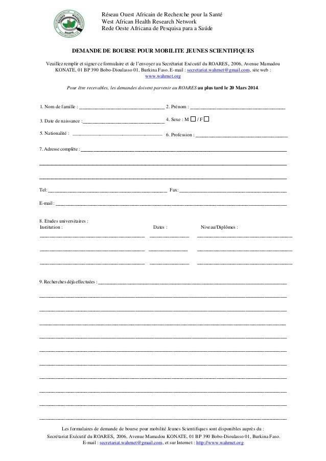 Formulaire d'inscription ROARES