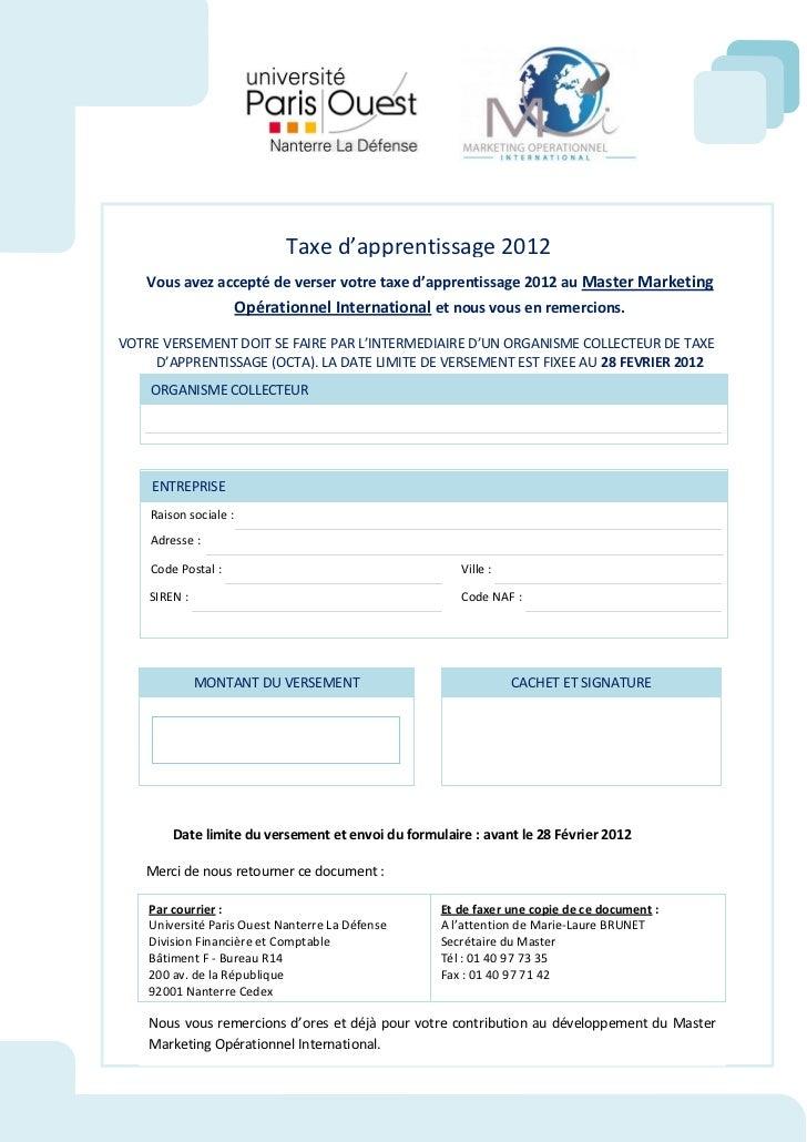 Formulaire taxe master MOI