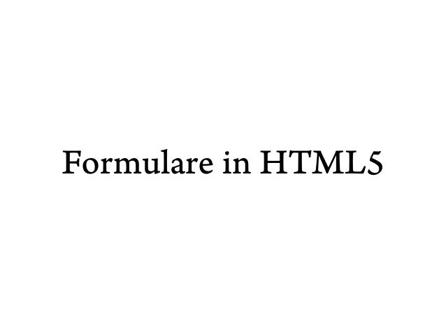 Formulare in HTML5