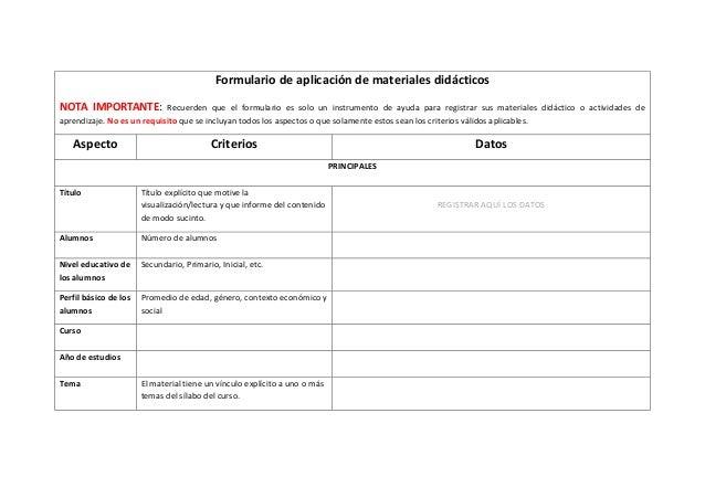 Formulario de aplicación de materiales didácticosNOTA IMPORTANTE:            Recuerden que el formulario es solo un instru...