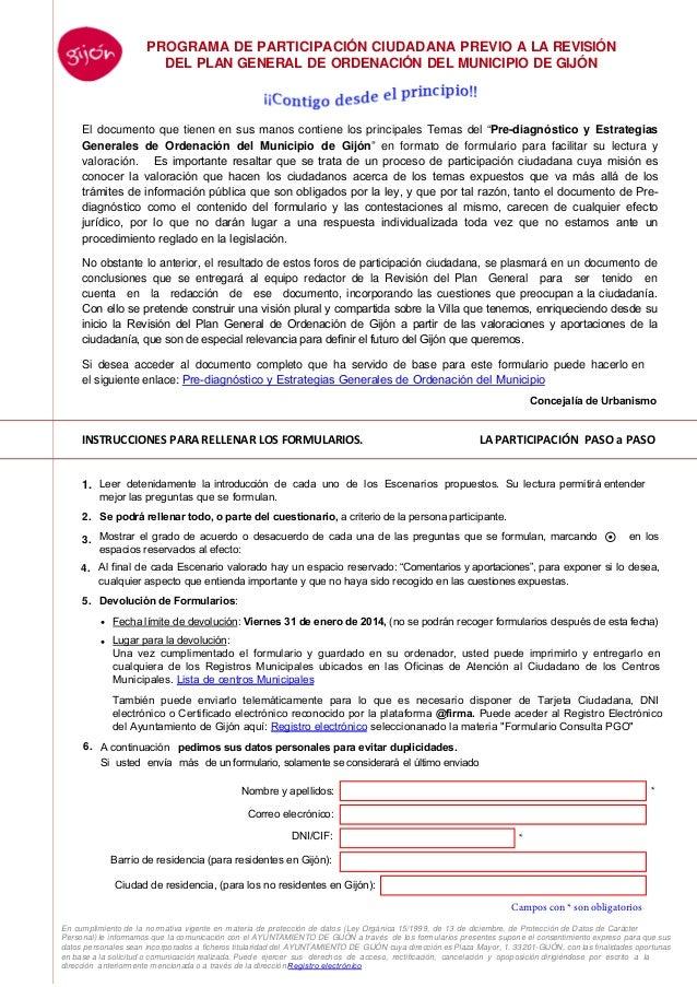 PROGRAMA DE PARTICIPACIÓN CIUDADANA PREVIO A LA REVISIÓN DEL PLAN GENERAL DE ORDENACIÓN DEL MUNICIPIO DE GIJÓN  El documen...