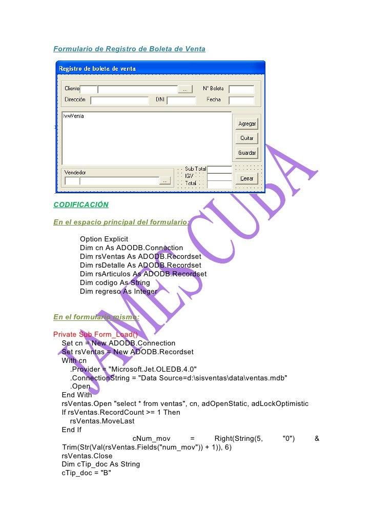 Formulario De Registro De Boleta De Ventay Mantenimiento De Cliente