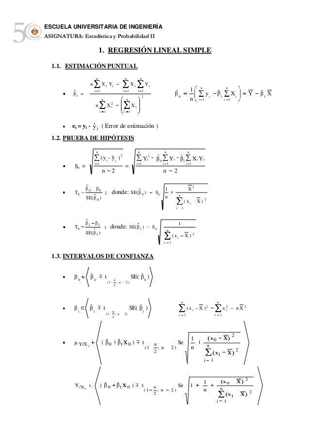 ESCUELA UNIVERSITARIA DE INGENIERÍAASIGNATURA: Estadística y Probabilidad II                               1. REGRESIÓN LI...