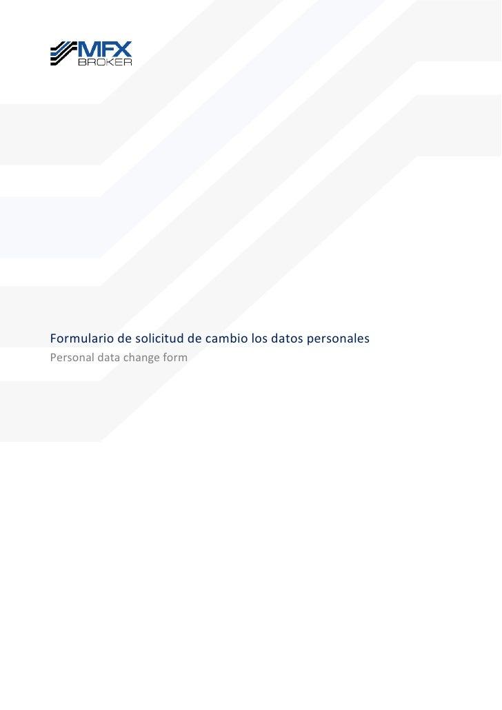 Formulario de solicitud de cambio los datos personales