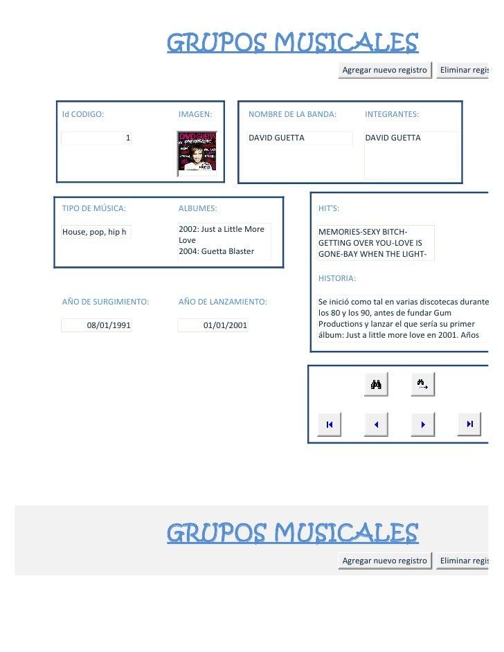 GRUPOS MUSICALES                                                                 Agregar nuevo registro   Eliminar registr...
