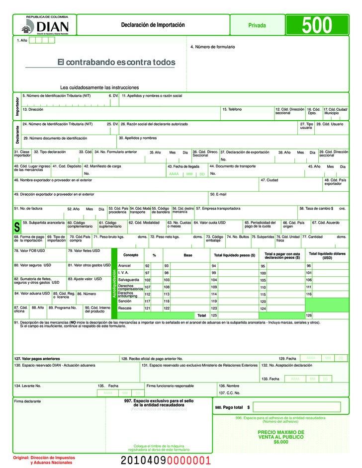 Formulario importacion