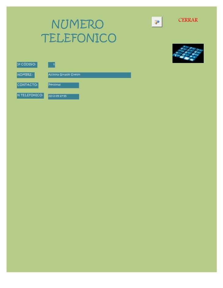 Formulario numero telefonico