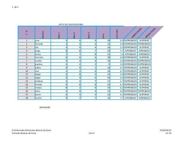 1 de 3 ACTA DE CALIFICACIONES N o . Nombre Nota1 Nota2 Nota3 suma promedio OBSERVACION OBSERVACION 1 juan 5 4 9 18 6,0 REP...
