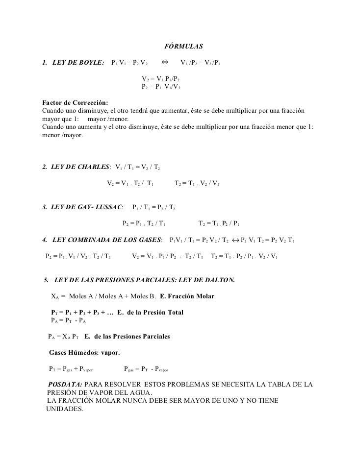 FÓRMULAS1. LEY DE BOYLE:               P1 V1 = P2 V2      ⇔       V1 /P2 = V2 /P1                                         ...