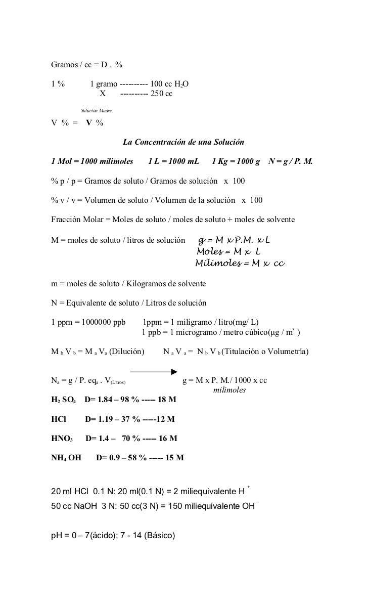 Gramos / cc = D . %1%            1 gramo ---------- 100 cc H2O                 X    ---------- 250 cc          Solución Ma...