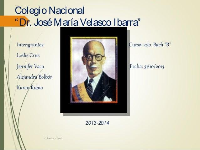 """Colegio Nacional """" Dr. José María Velasco Ibarra"""" Intengrantes:  Curso: 2do. Bach """"B""""  Jennifer Vaca  Fecha: 31/10/2013  L..."""