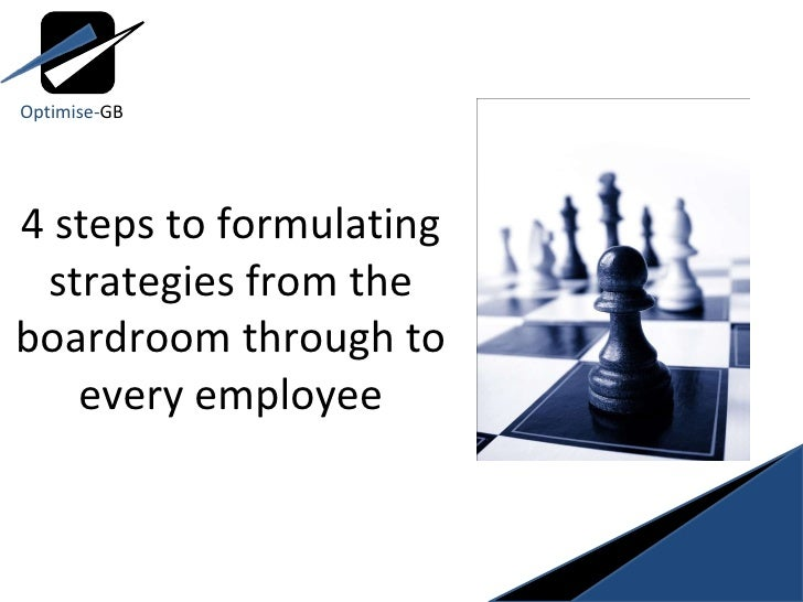 4 steps to formulating strategies from the boardroom through to every employee Optimise- GB