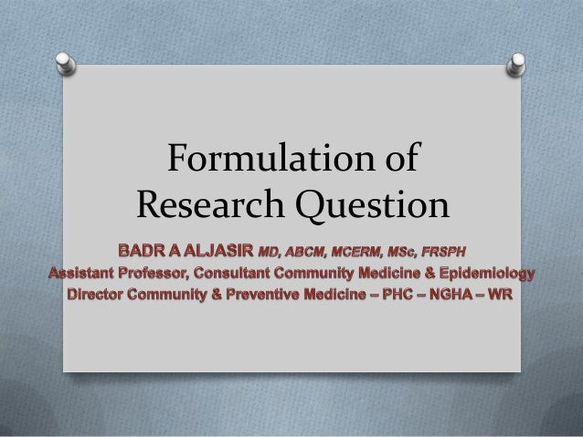 Formulation of research questions
