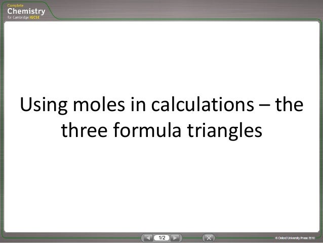 Formula triangles for moles