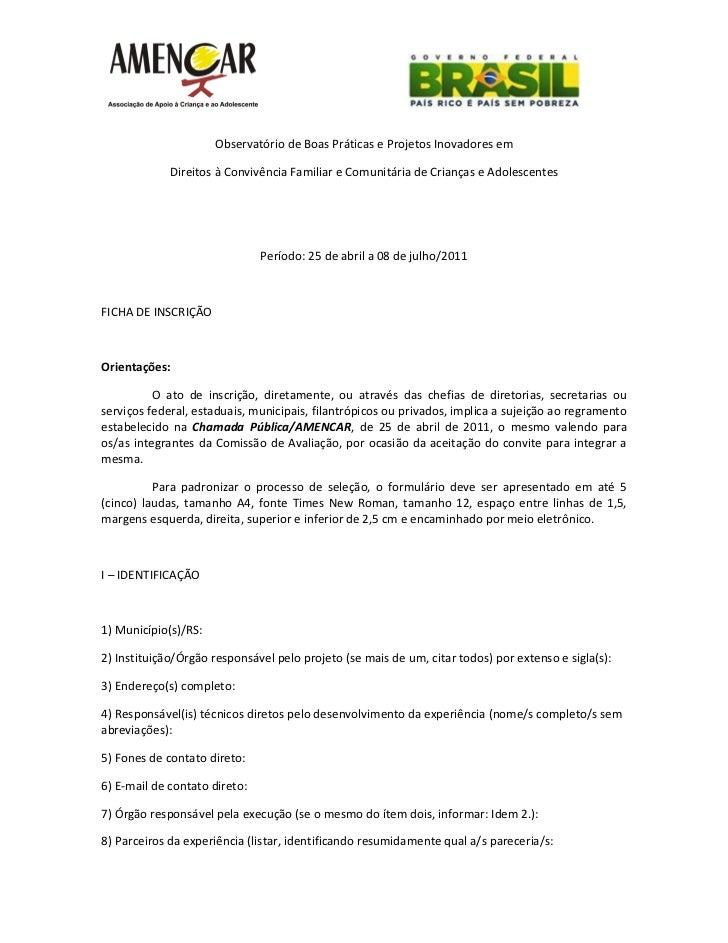 Observatório de Boas Práticas e Projetos Inovadores em             Direitos à Convivência Familiar e Comunitária de Crianç...
