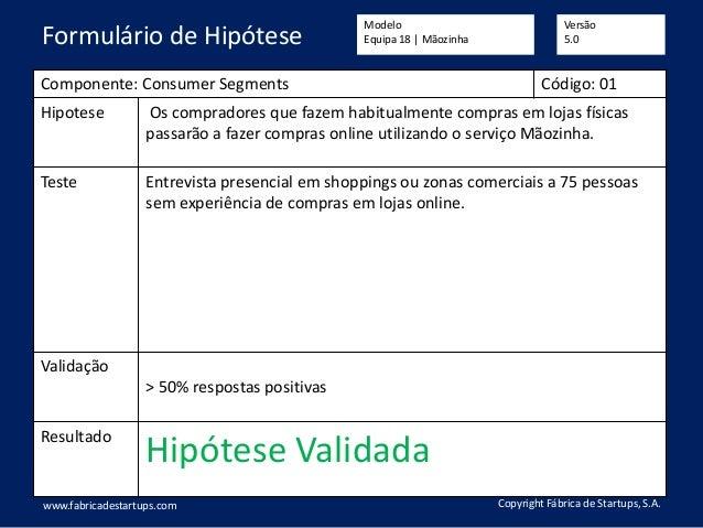 Componente: Consumer Segments Código: 01 Hipotese Os compradores que fazem habitualmente compras em lojas físicas passarão...