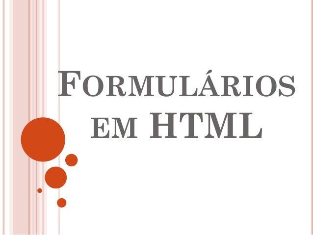 Formulários em html