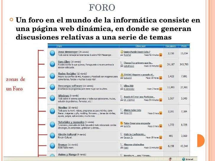 FORO <ul><li>Un foro en el mundo de la informática consiste en una página web dinámica, en donde se generan discusiones re...