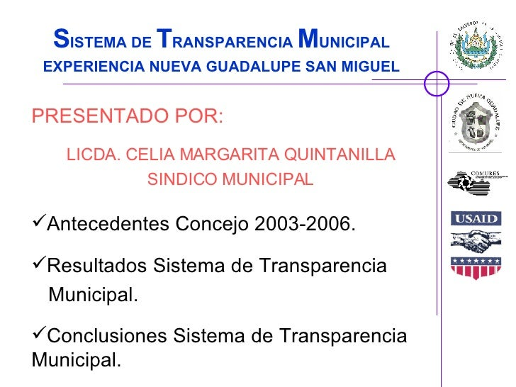 Foro Internacional Transparencia a Nivel Local El Salvador: Nueva Guadalupe