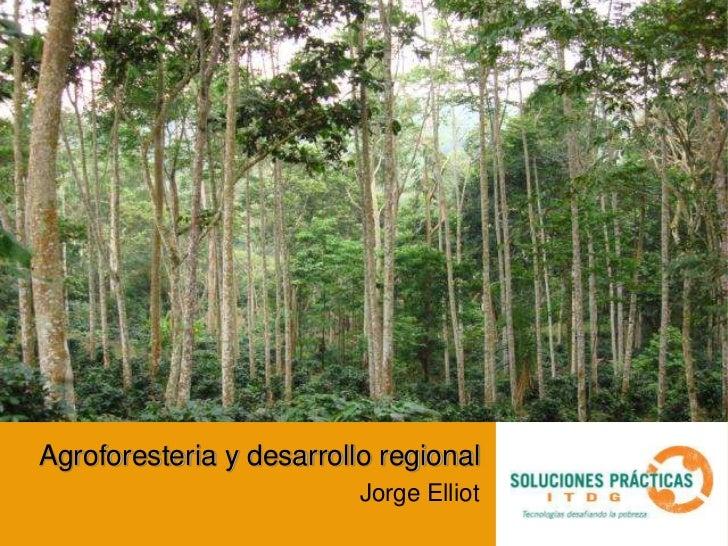 Agroforesteria y desarrollo regional                                Jorge Elliot                     Sub programa producto...
