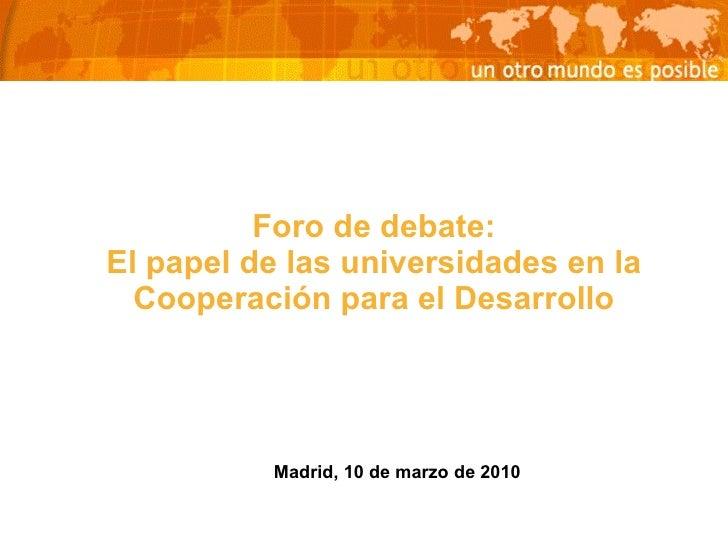 El papel de las Universidades en la cooperación al desarrollo