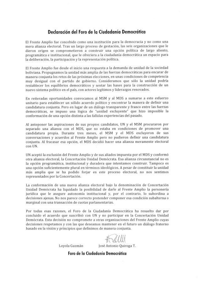 Declaración del Foro de la Ciudadanía Democrática