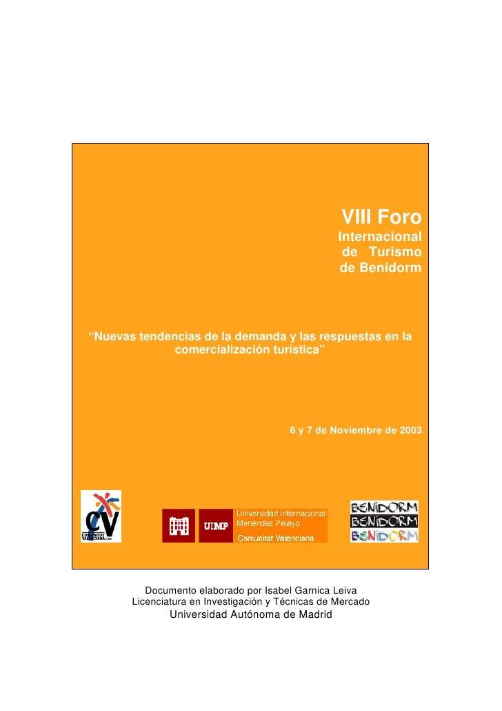 VIII Foro Internacional de Turismo de Benidorm                                                        VIII Foro           ...