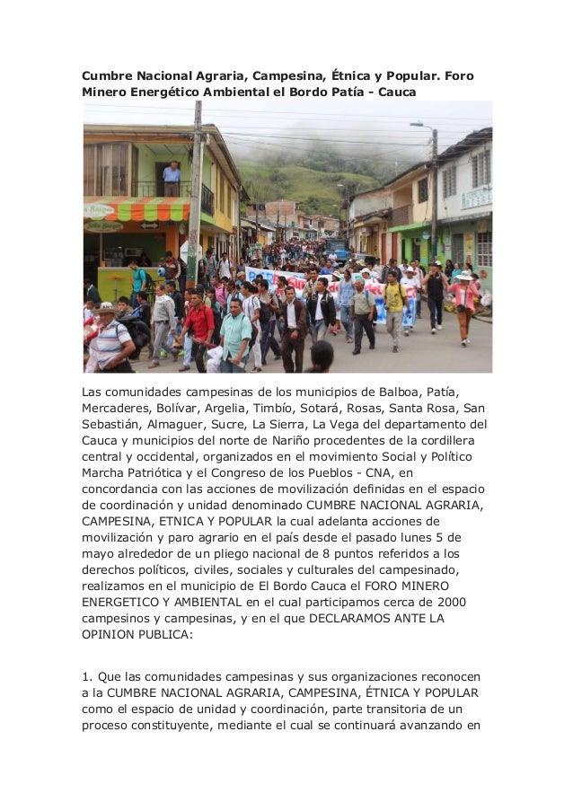 Declaración Foro Minero Energético Ambiental el Bordo Patía - Cauca