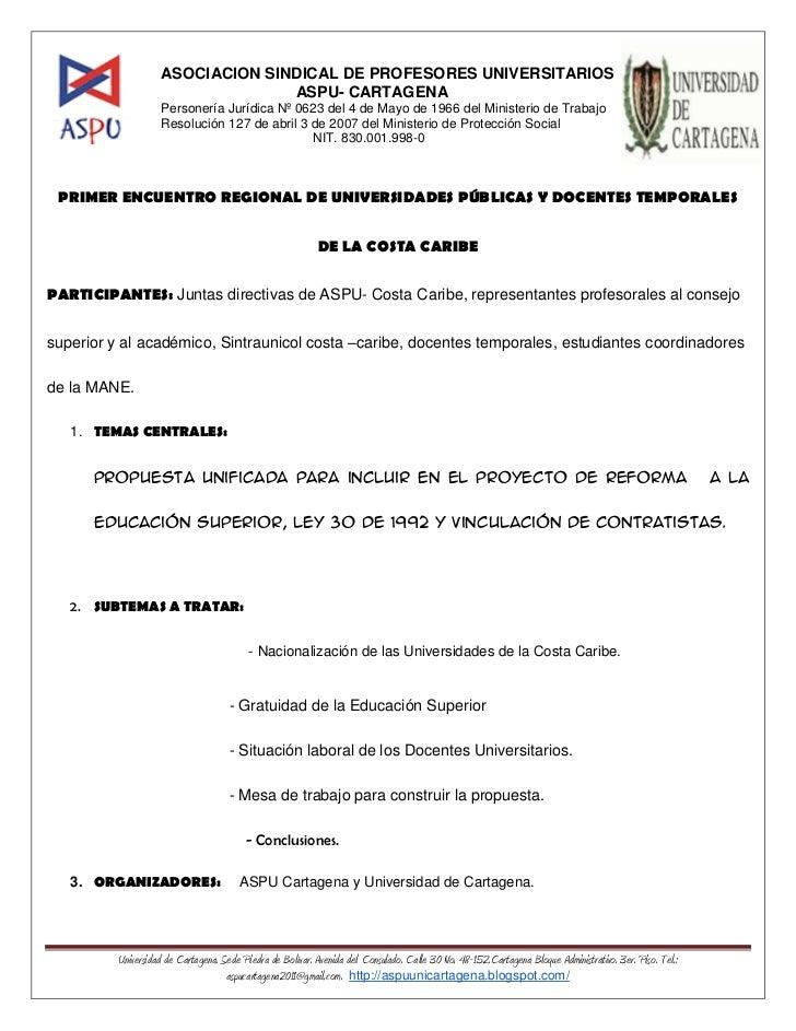 ASOCIACION SINDICAL DE PROFESORES UNIVERSITARIOS                                  ASPU- CARTAGENA                    Perso...
