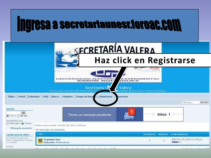 Ingresa a secretariaunesr.foroac.com<br />Haz click en Registrarse<br />