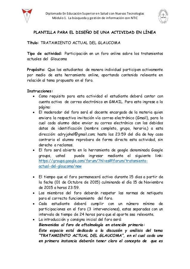 Diplomado En Educación Superior en Salud con Nuevas Tecnologías Módulo 1. La búsqueda y gestión de información con NTIC PL...