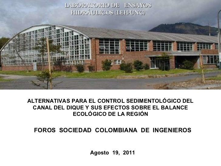 <ul><ul><li>ALTERNATIVAS PARA EL CONTROL SEDIMENTOLÓGICO DEL CANAL DEL DIQUE Y SUS EFECTOS SOBRE EL BALANCE ECOLÓGICO DE L...