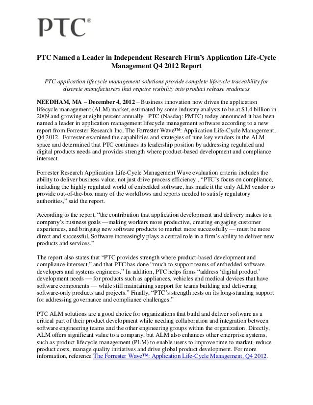 PTC Named a Leader in Independent Research Firm's Application Life-Cycle                     Management Q4 2012 Report   P...