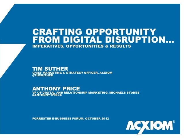 CRAFTING OPPORTUNITYFROM DIGITAL DISRUPTION…IMPERATIVES, OPPORTUNITIES & RESULTSTIM SUTHERCHIEF MARKETING & STRATEGY OFFIC...