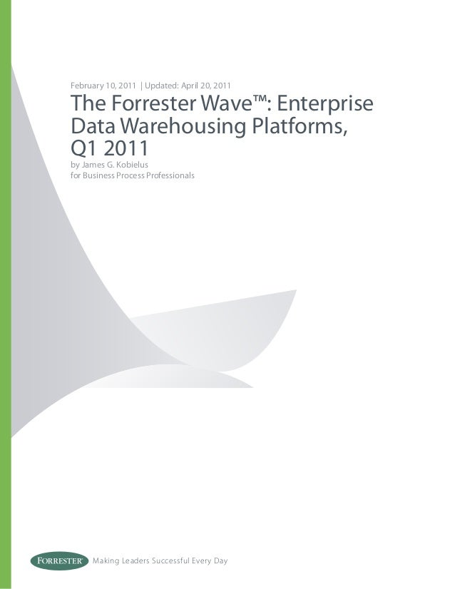 Making Leaders Successful Every Day February 10, 2011 | Updated: April 20, 2011 The Forrester Wave™: Enterprise Data Wareh...