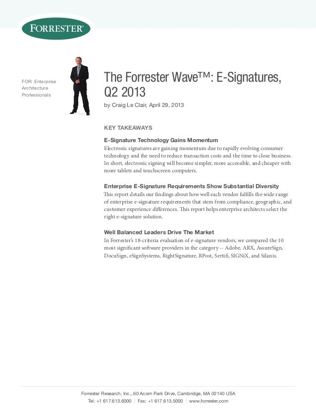 Electronic Signature markets and vendors_Forrester Wave_Q2_2013