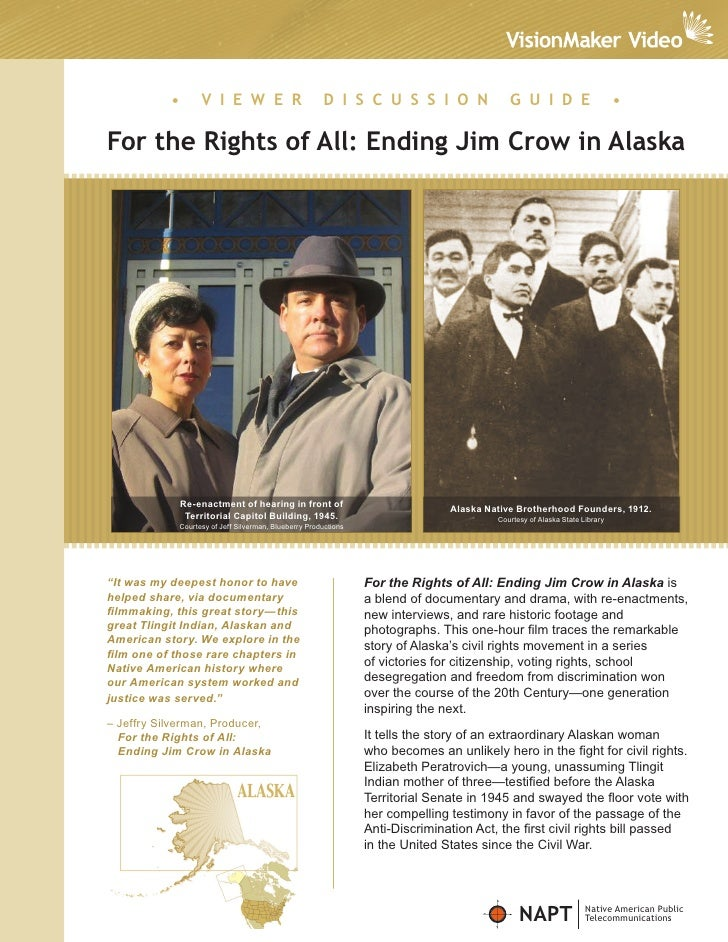 For Rightsof All: Ending Jim Crow in Alaska Viewer Discussion Guide