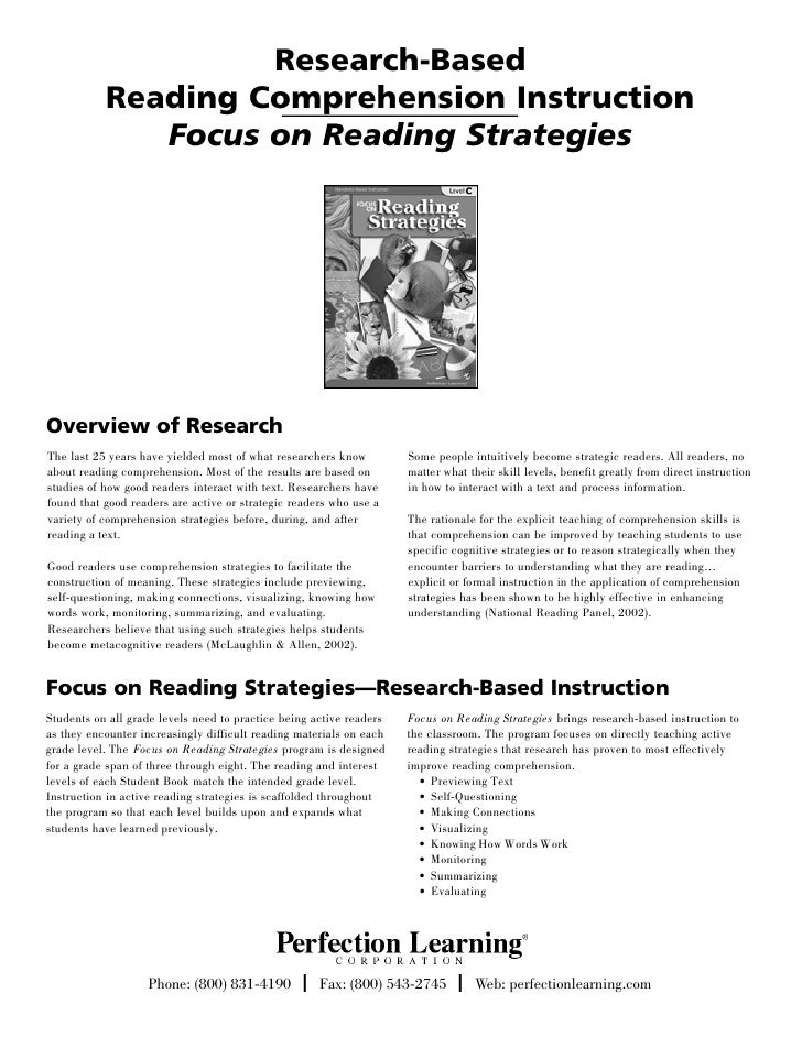 Research-Based           Reading Comprehension Instruction              Focus on Reading StrategiesOverview of ResearchThe...