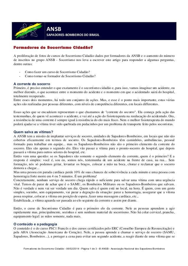 Formadores de Socorrismo Cidadão - 06/02/2014 - Página 1 de 3 - © ANSB  - Associação Nacional dos Sapadores-Bombeiros  ANS...