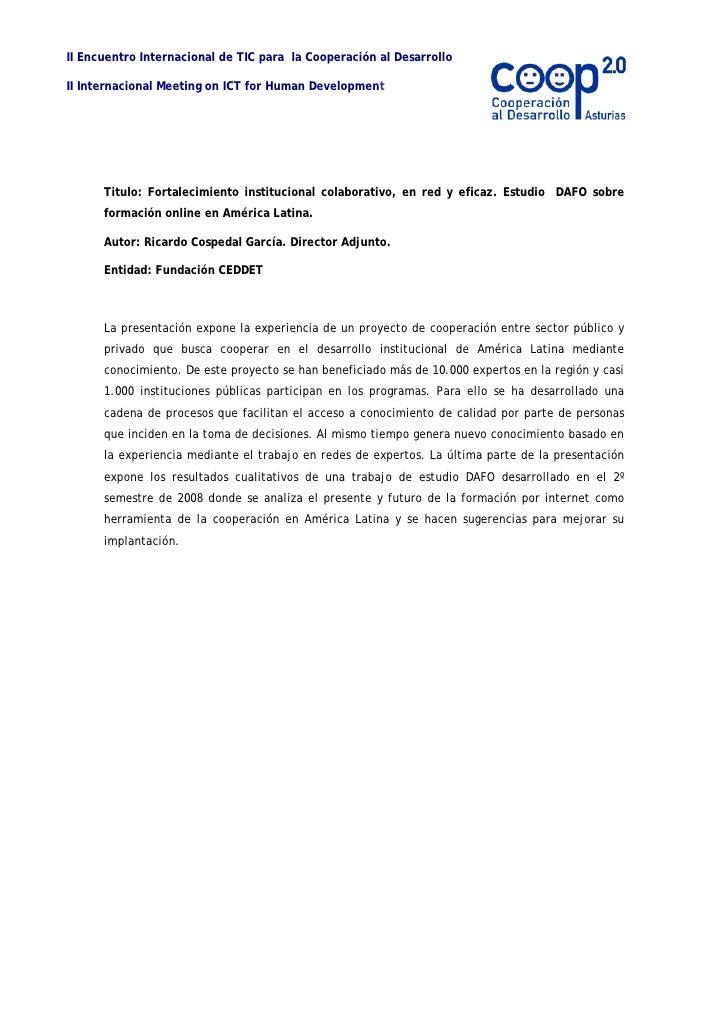 Fortalecimiento Institucional Colaborativo, En Red Y Eficaz