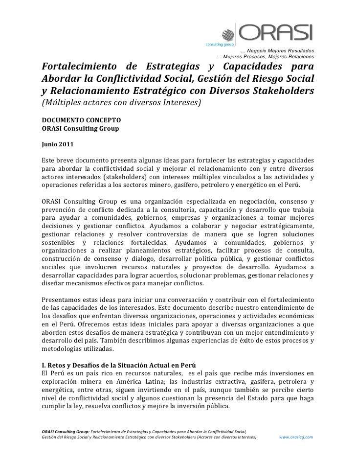 Fortalecimiento de estrategias y capacidades para abordar la conflictividad social, gestión del riesgo social y relacionamiento estrategico con diversos stakeholders