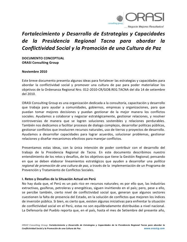 Fortalecimiento de presidencia regional tacna – implementando or 012 2010 cr gob reg tacna
