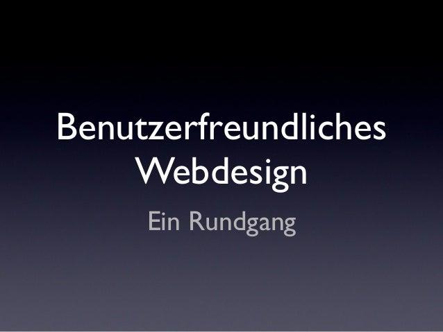 Ein Rundgang Benutzerfreundliches Webdesign