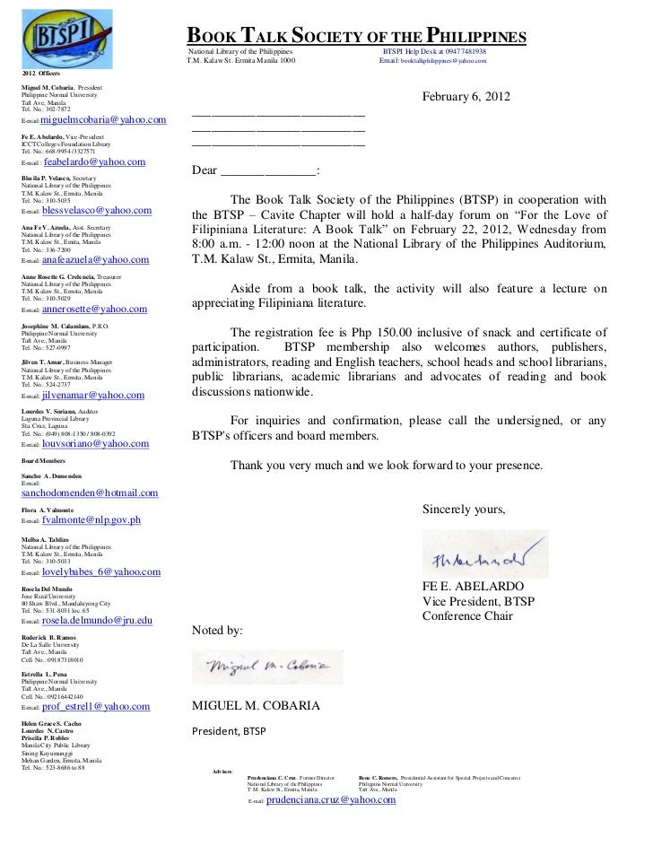 BOOK TALK SOCIETY OF THE PHILIPPINES                                       National Library of the Philippines            ...