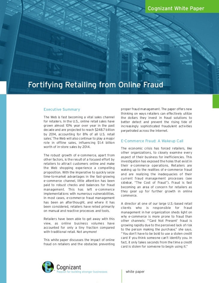 Cognizant White PaperFortifying Retailing from Online Fraud    Executive Summary                                      prop...