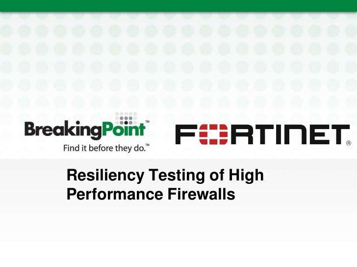 Testing High Performance Firewalls