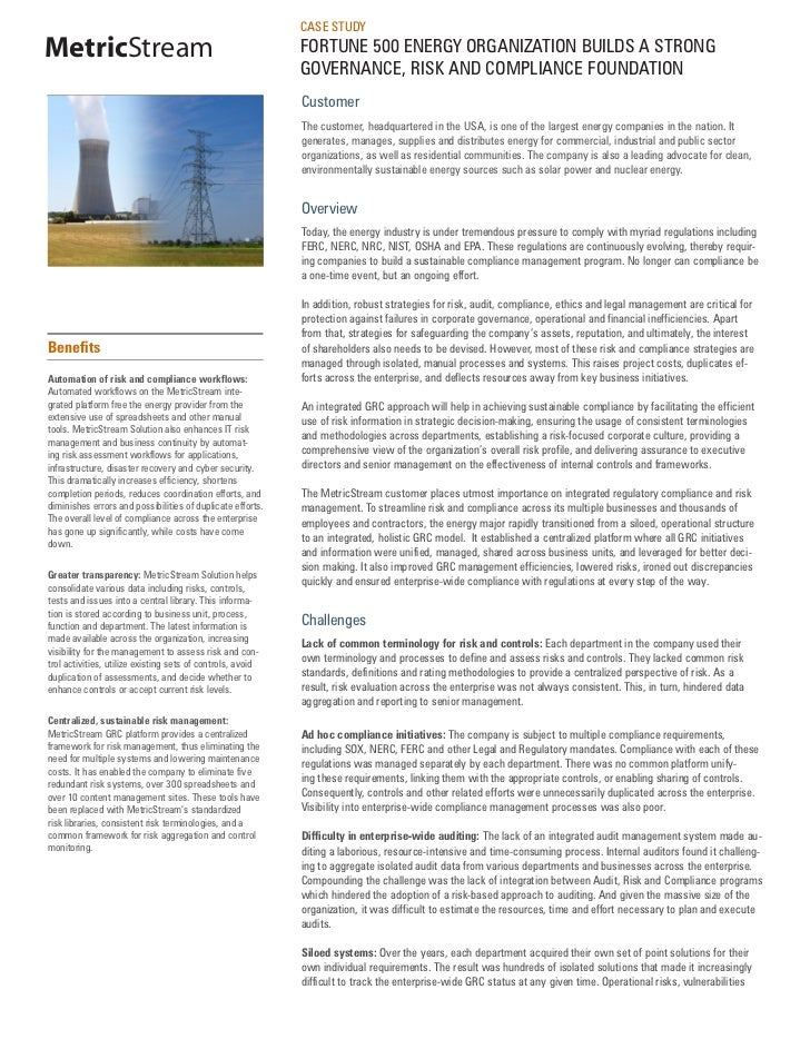 Governance, Risk and Compliance- Energy Industry