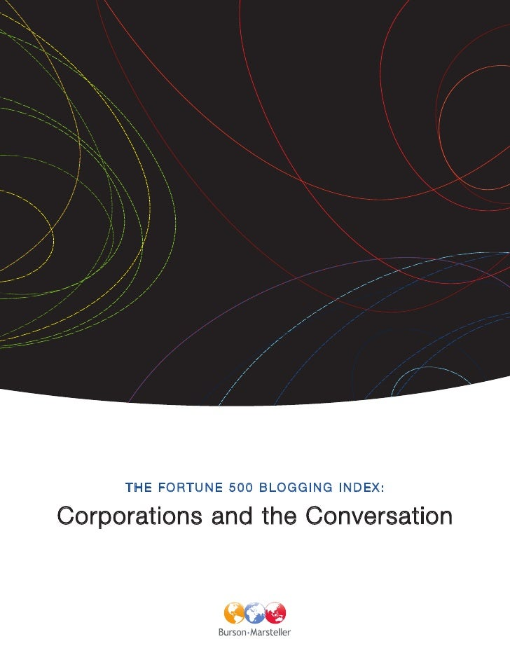 THE FORTUNE 500 BLOGGING INDEX:  Corporations and the Conversation